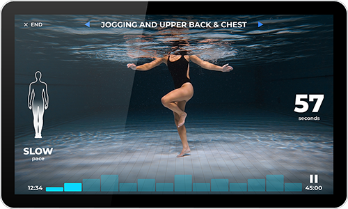 Virtual aqua fitness screen